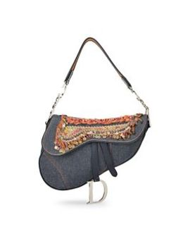 Blue Denim Embellished Saddle Bag by Christian Dior