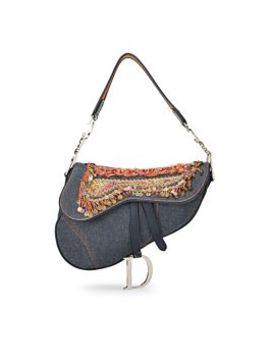 Blue Denim Embellished Saddle Bag by Christian Dior