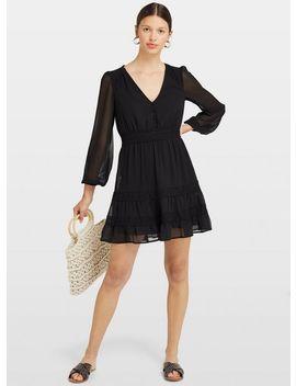Black Lace Trim Mini Dress by Miss Selfridge