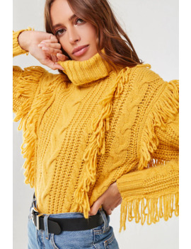 Fringe Turtleneck Sweater by Forever 21