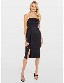 Black Bandeau Fan Midi Dress by Miss Selfridge