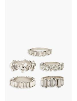 Statement Diamante Ring Pack by Boohoo