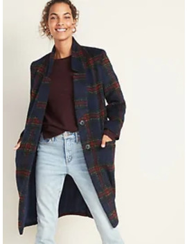 Oversized Soft Brushed Plaid Long Line Coat For Women by Old Navy
