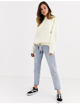 Pull&Bear Oversized Sweat Top With Drawstring In Ecru by Pull&Bear