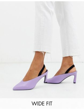 Asos Design Wide Fit Wishful Mid Heels In Lilac And Black by Asos Design