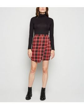 Red Check Asymmetric Wrap Tube Skirt by New Look