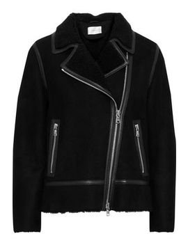 Lea Leather Trimmed Shearling Biker Jacket by Stand Studio