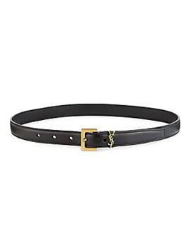 Monogram Lacquer Leather Belt by Saint Laurent