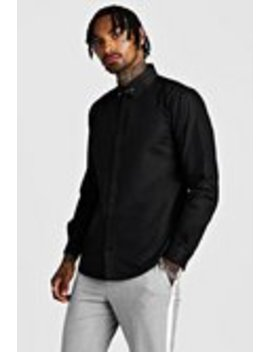 Smart Cotton Shirt With Collar Bar by Boohoo Man