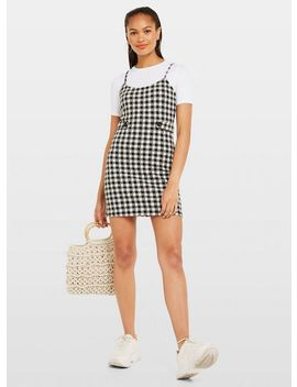 Black Gingham Print Strappy Pinafore Dress by Miss Selfridge