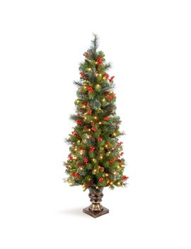 Entrance Green Spruce Artificial Christmas Tree With Clear/White Lights by Three Posts