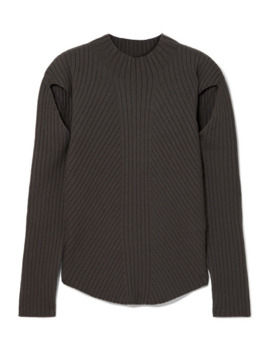 Cutout Ribbed Knit Sweater by Low Classic