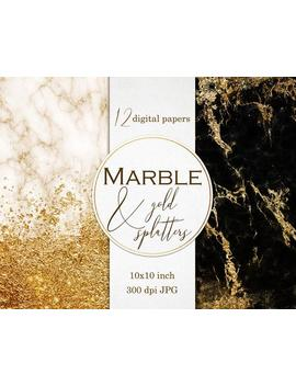 Gold And Marble Digital Paper, Paper Pack, Gold And Black Papers, Gold Backgrounds, Abstract Textures, Marble Texture, Marble Digital Paper by Etsy