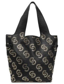 Studded Pebbled Leather Tote by Roberto Cavalli