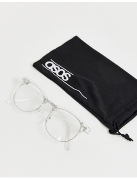 Asos Design Retro Clear Lens Glasses In Clear Crystal by Asos Design