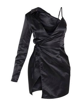 Black Satin One Shoulder Tie Detail Blazer Dress by Prettylittlething