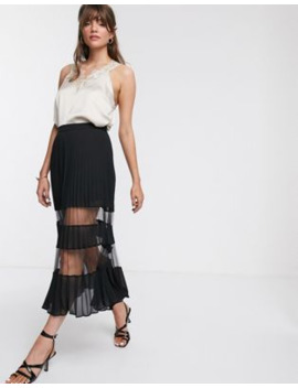 &Amp; Other Stories Plisse Mesh Midi Skirt In Black by & Other Stories