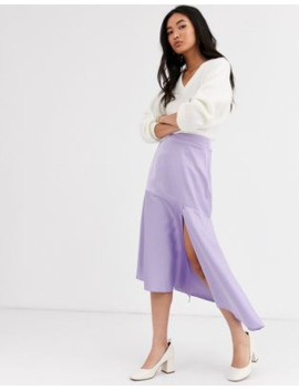 &Amp; Other Stories Satin Waterfall Midi Skirt In Lilac by & Other Stories