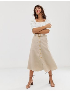 &Amp; Other Stories Linen Button Front Midi Skirt In Light Beige by & Other Stories
