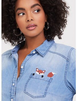 Taylor   Medium Wash Embroidered Fox Button Front Shirt by Torrid