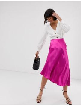 &Amp; Other Stories Satin Asymmetric Hem Midi Skirt In Fuchsia by & Other Stories