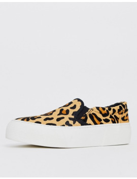 Asos Design Dallas Chunky Leather Slip On Plimsolls In Leopard by Asos Design