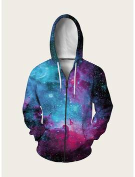 Guys Galaxy Print Drawstring Hooded Sweatshirt by Romwe