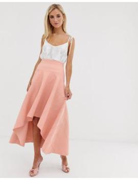 Asos Design Bonded Lace Dip Hem Midi Skirt by Asos Design