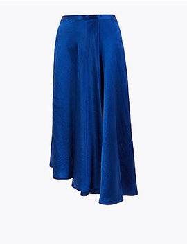 Satin Asymmetric Slip Skirt by Marks & Spencer