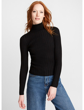 Wide Ribbed Turtleneck Sweater by Icône