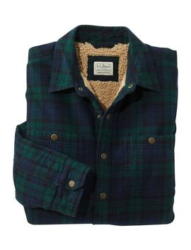 Sherpa Lined Scotch Plaid Shirt, Slightly Fitted by L.L.Bean