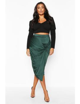Plus Disco Slinky Knot Front Detail Midi Skirt by Boohoo