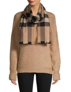 Amu Wool Blend Check Scarf by Burberry
