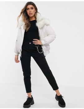 Sixth June Oversized Bomber Jacket With Faux Fur Hood by Asos
