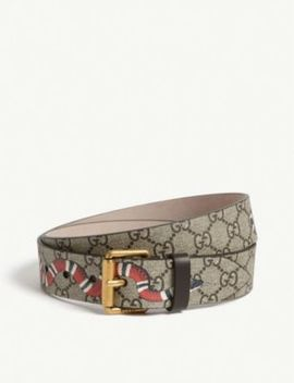 Snake Gg Supreme Leather Belt by Gucci