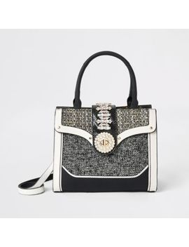 Black Boucle Diamante Embellished Tote Bag by River Island