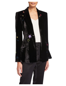 Estelle Velvet Star Embroidered Blazer by Cinq A Sept