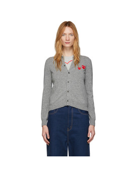 Grey Wool Double Heart Patch Cardigan by Comme Des GarÇons Play