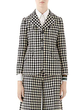 Houndstooth Wool Blend Single Breasted Jacket by Gucci