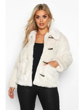Plus Faux Fur Toggle Detail Pea Coat by Boohoo