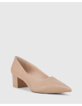 Gardenia New Flesh Leather Block Heel Pointed Toe Pump by Wittner