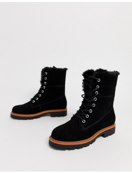 Asos Design Atlantis Suede Fur Lace Up Boots In Black by Asos Design