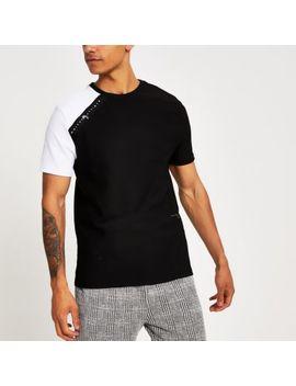 Black Maison Riviera Tape Slim Fit T Shirt by River Island
