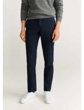 Pantalon Slim Fit Structuré En Coton by Mango