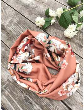 Copper Infinity Scarf, Floral Copper Colored Scarf, Cowl With Flowers, Copper Cowl Woman, Floral Infinity Scarf, Copper Colored Fabric by Etsy