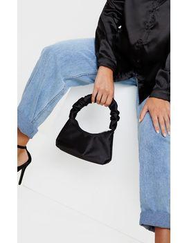 Black Satin Ruffle Handle Shoulder Bag by Prettylittlething