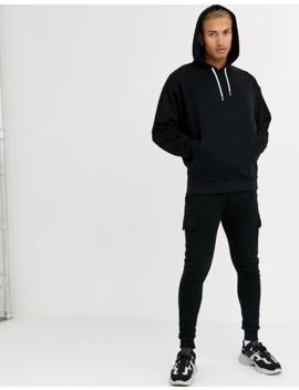 Asos Design   Hoodie Oversize Avec Cordons De Serrage Noir Et Blanc by Asos Design