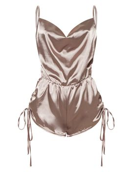 Mocha Ruched Shorts Satin Playsuit by Prettylittlething