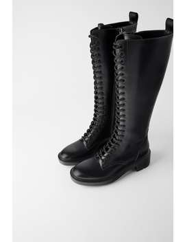 Flat Boots With Eyelet Facing by Zara