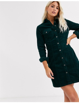 New Look Cord Shirt Dress In Green by New Look